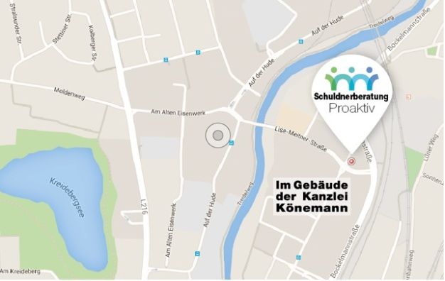 Karte Schuldnerberatung pro-aktiv Lüneburg