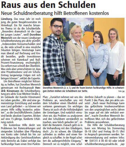 Schuldnerberatung pro-akiv Lüneburg in der Lünepost
