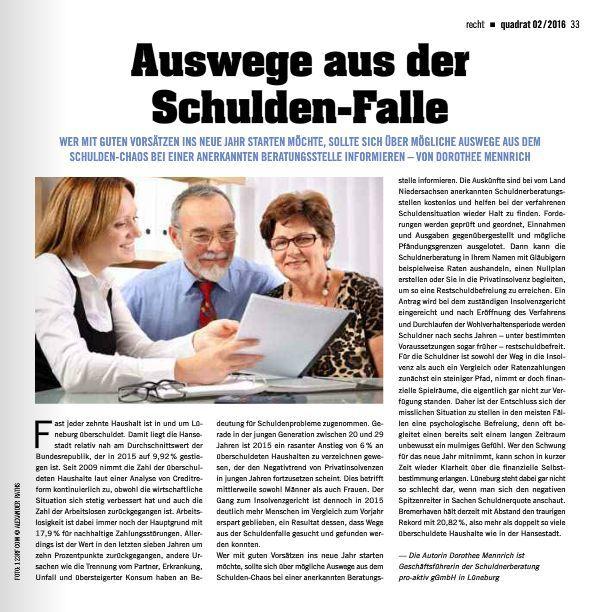 Zeitungsartikel der Schuldnerberatung Lüneburg